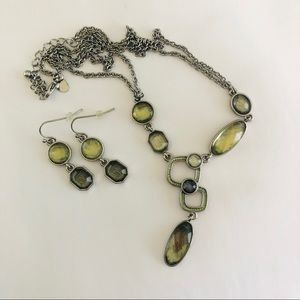 Lia Sophia Green/Silver Necklace and Earring Set